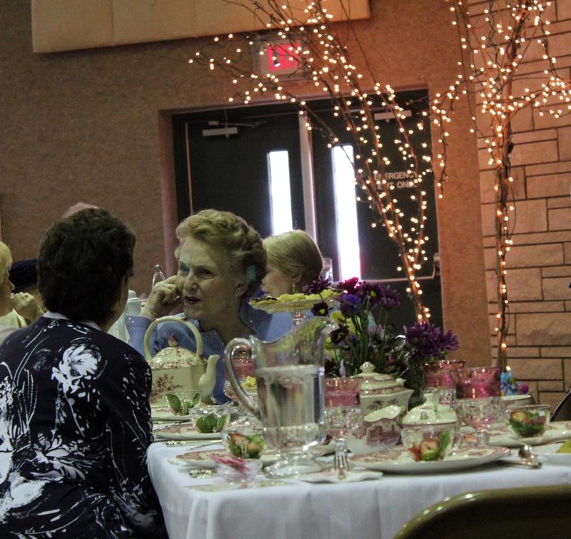 Women enjoy the tea party
